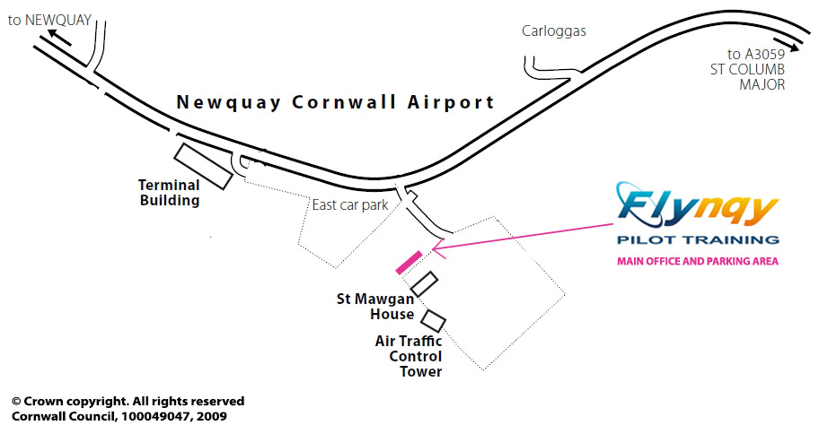 Flynqy Map - How to find us when you arrive at Newquay Airport
