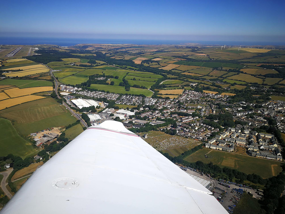 The North Cornwall Coast from the air, on the approach to land on Runway 30 at Cornwall Airport Newquay (EGHQ).