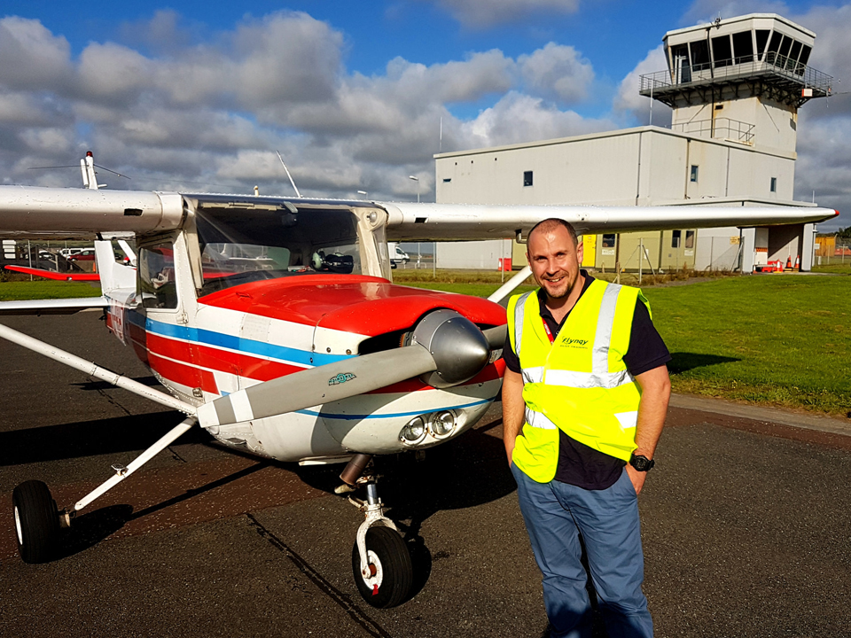 Recently qualified pilot, Tim with our Cessna 152 at Cornwall Airport Newquay.