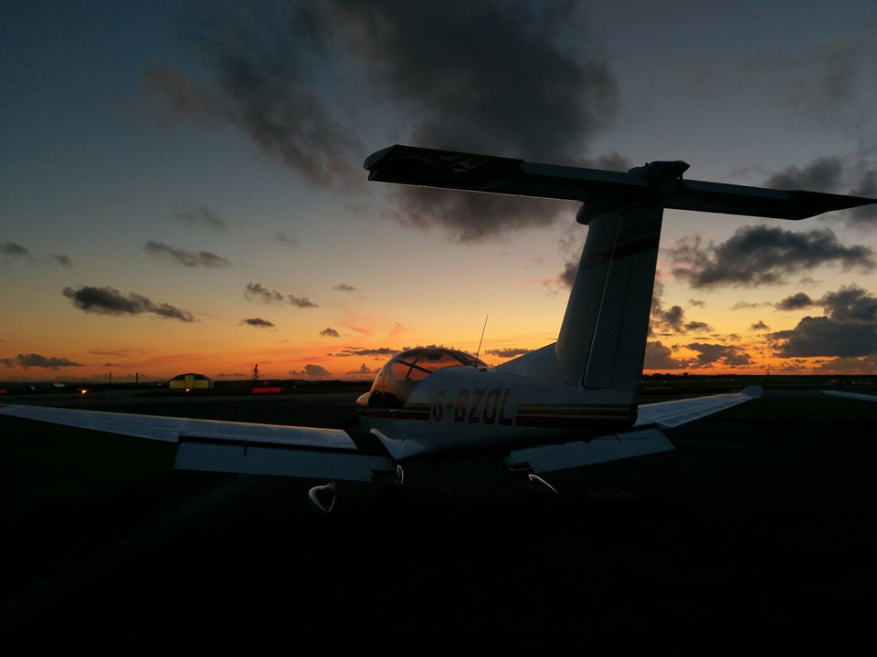 Sunset with our Robin R3000 G-BZOL at Cornwall Airport Newquay