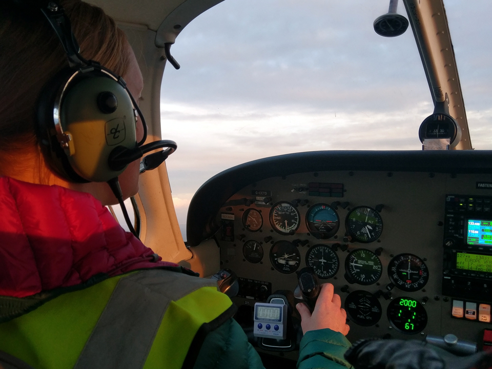 New student having an evening flying lesson over Cornwall in the Piper PA28