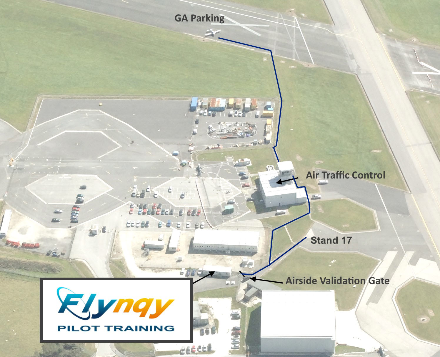 Map from GA Park to Flynqy Pilot Training