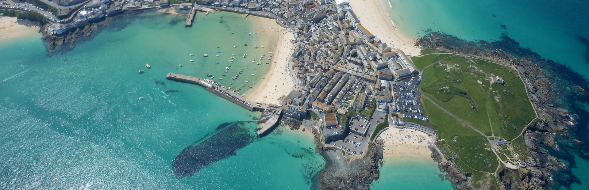 St Ives Bay and Harbour from the air