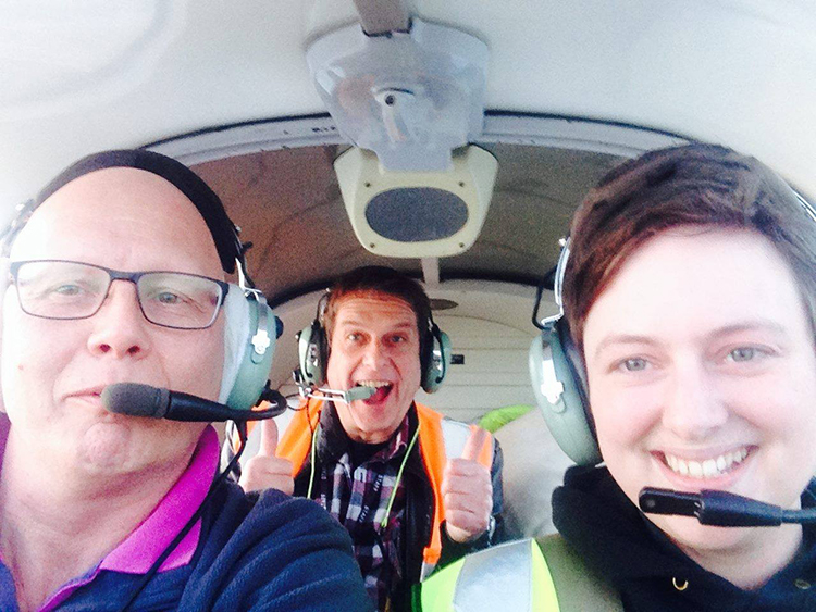 Lothar, Marshall and Zara flying together in the Robin DR400