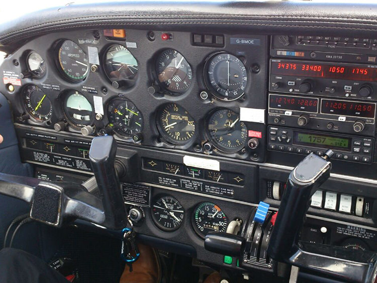 Piper PA28R Arrow Cockpit Controls, flown by an EASA CPL student