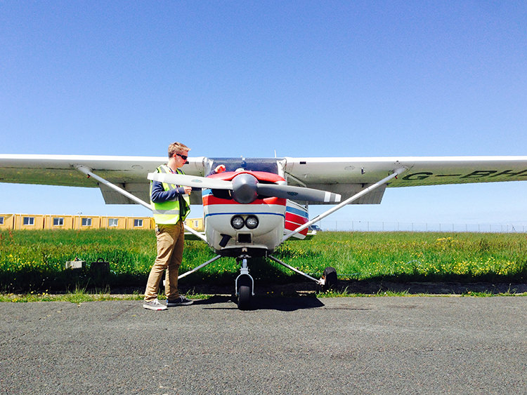 Student completing an aircraft check-out on the Cessna 152