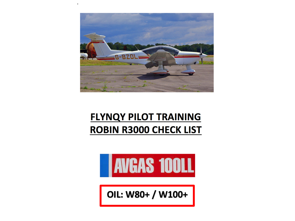 ROBIN R3000 CHECK LIST